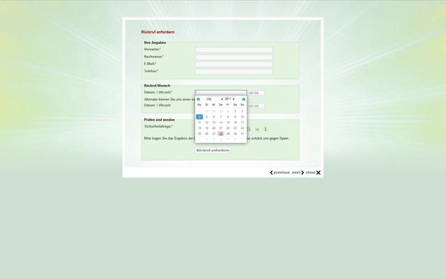 Rückruf-Formular in Ajax-Lightbox