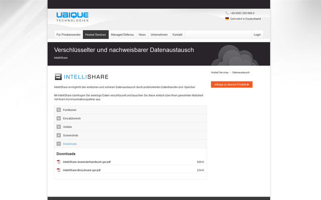 Website mit Produktdetails